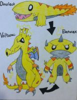 Fakemon: Dinolect,Electorex,Voltarac by Brawl483