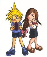 Lil' cloud and tifa by Nuran-Cawthorne