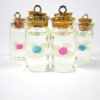 Legend of Zelda blue and pink fairy in a bottle by TrenoNights