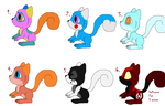 Adoptables Batch 3 Squirrels (1-3 points Open) by cutedog132