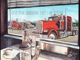 Keep On Truckin' (Kenworth W900L Painting) by FastLaneIllustration