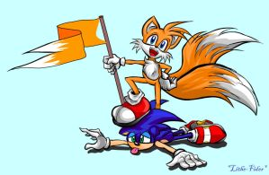 Tails Kick Sonic by Lithe-Fider