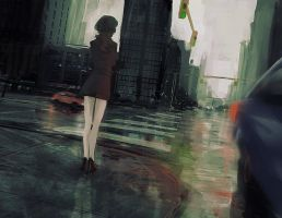 Wet_city_speedpainting by Skyebrowz