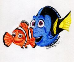 Dory and Marlin by jade-beaver