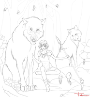 Mononoke Hime Line Art by takemina