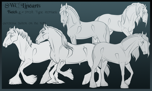 Lineart Batch 5 - Draft Type Horses by SWC-arpg