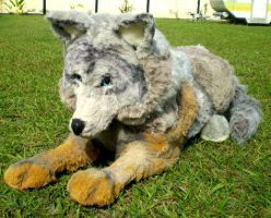 life size wolf plushie by Hidden-Treasury