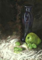 Vase, Pear And Grapes by h-i-l-e-x