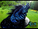 --SOLD--Fantasy Moondust Wolf Sculpture! by Wood-Splitter-Lee