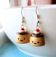 Kawaii Pudding Earrings by AsianBunni