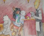 First Visit to Grillby's by CloversInTheSnow