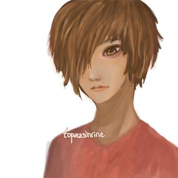 Just a Painting: One-eyed girl.. Or boy? by TopazShrine