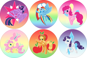 [P] Mane 6 Button Collection by Taevari
