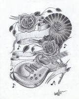 guitar and roses tattoo design by Jarryn