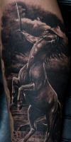 Black and Grey Centaurs Tattoo by Remistattoo