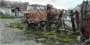 old car in countryside by VitoSs