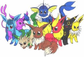 The Eevee Family by Xuriyah
