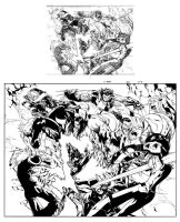 X-men 201 pag 2-3 ink by Lobo-Cuevas