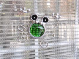 Stained Glass Screen Door Frog Suncatcher by JasGlassArt