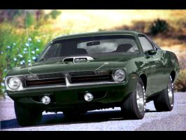 green hemi cuda 70 by puddlz