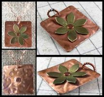 Copper Brass Mixed Metal Flower Pendant by DryGulchJewelry