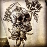 Sugar skull and flowers by dazzbishop
