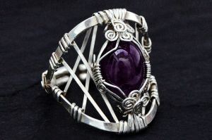 Wire Wrap Sterling Silver Ring with Amethyst stone by hyppiechic