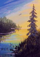 ACEO Sunset Marsh by annieoakley64