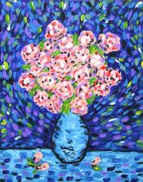 Pink Roses in a Blue Vase by Dunn95