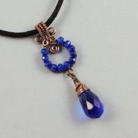 Copper and Blue Glass Necklace by sylva
