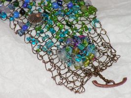 Gone Fishin' - Hand Knitted Wire Bracelet by nightowl2704