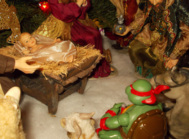 Raph and a silent moment with baby jesus by TMNTFAN85