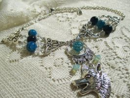 Blue Moon Wolf-Choke-necklace by Destinyfall