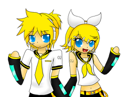 Gift: Kagamine Rin and Len by JLrrblover