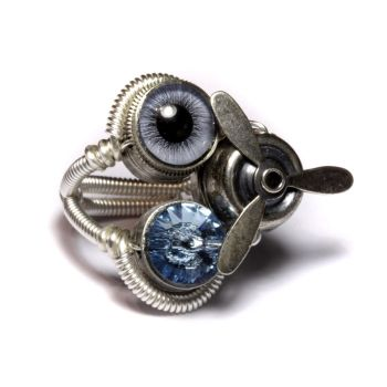 Airship Blue Steampunk Ring by CatherinetteRings