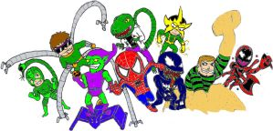 Spider Man and his foes by 2ndCityCrusader