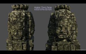 Angkor Thom Face Statue 2 by charliedeft