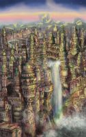 Heorat-The City in the Waterfall by HUGO-CANUTO