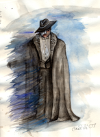 Erik with cloak -watercolour by RJDaae