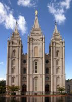 Salt Lake Temple front view by houstonryan