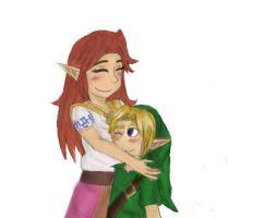 Cremia and Link (Art Trade) by pokemonpuppy1