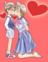 Detective Conan Ran kiss love by black4869