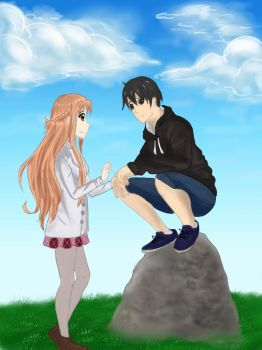 Kirito and Asuna by Victorika67Zombie