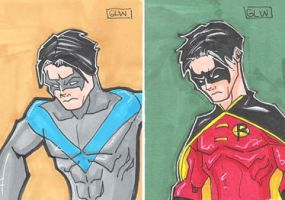 Nightwing and Robin cards by Glwills1126