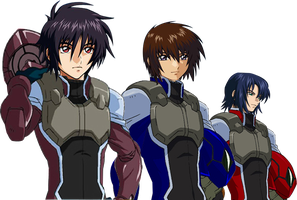 Shinn kira and Athrun in Celestial being pilot by Redchampiontrainer01