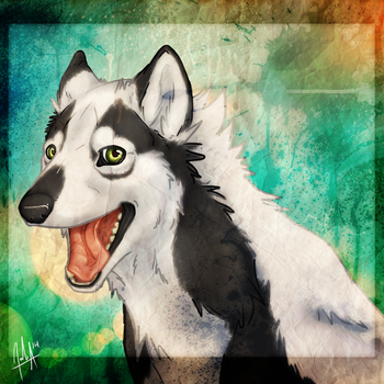Canine Troll-Face Portrait by VexiWolf