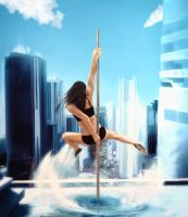 *Almost* Speed painting - Pole dance over the city by creativecyclops