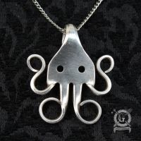 Silver Cthulhu Fork Pendant by Doctor-Gus