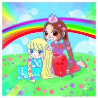 Princess Rose and Amirra: In the Magic Garden by WhiteKiss