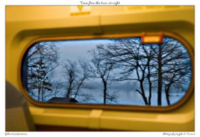 View from the train at night by yellowcaseartist